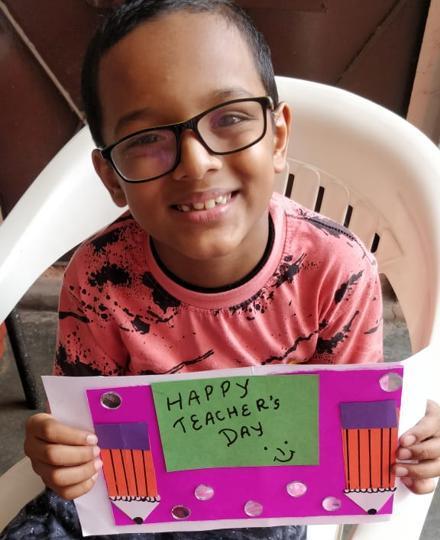 Divit Bansal of Rukmini Devi School, Rohini, with a card he had made