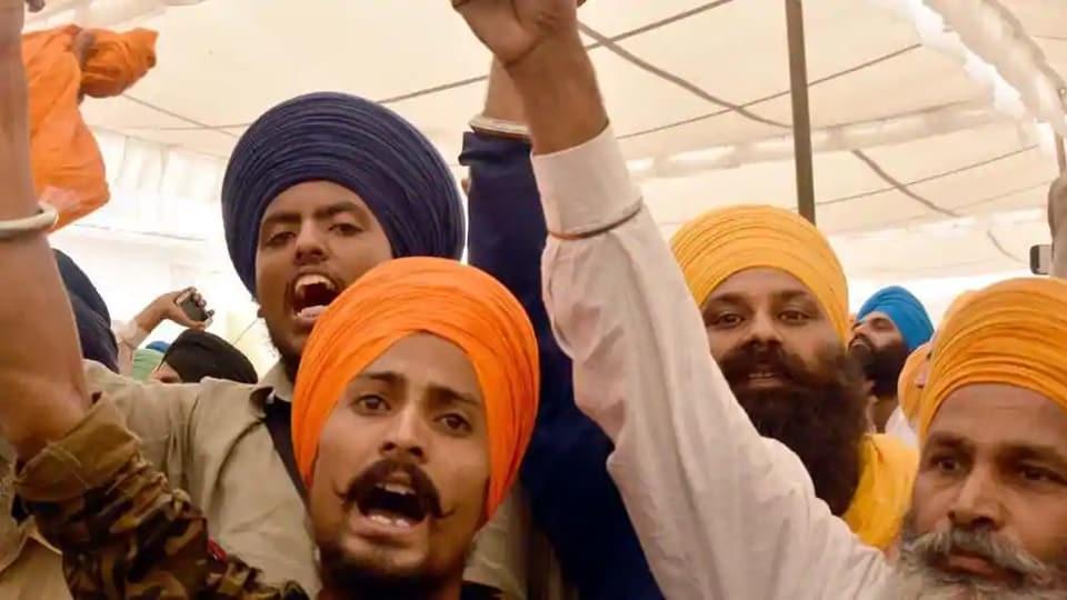 Sikh radical activist rising pro Khalistan slogans