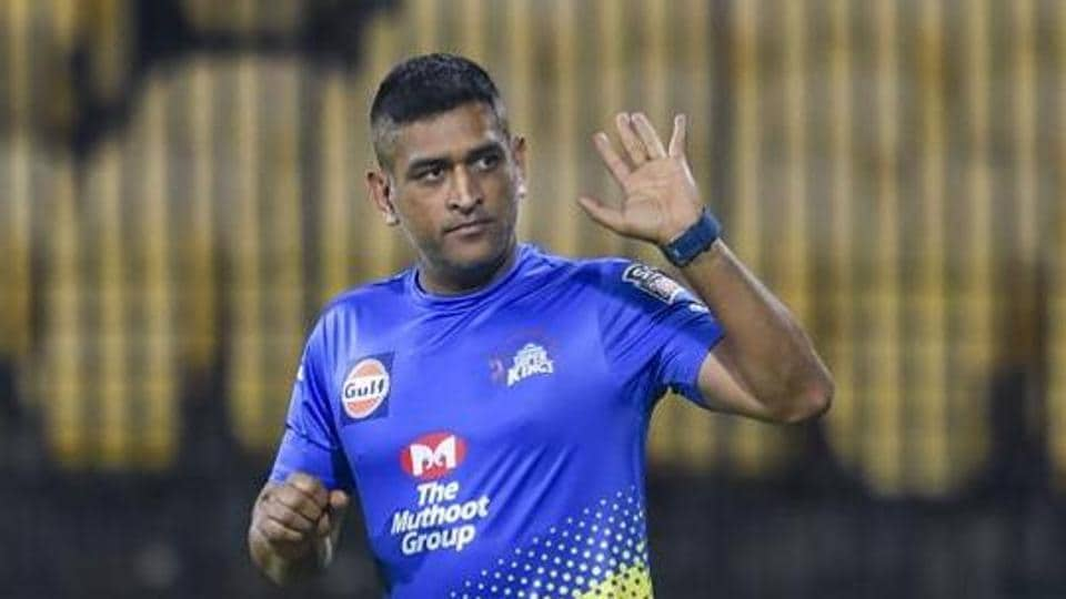 CSK Skipper MS Dhoni during the practice session.