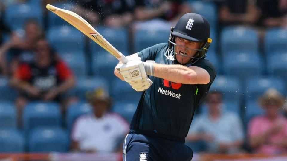 Eoin Morgan bludgeons one on the leg side.