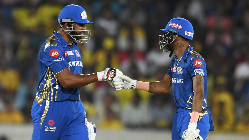 Mumbai Indians cricketers Kieron Pollard (L) and Hardik Pandya.