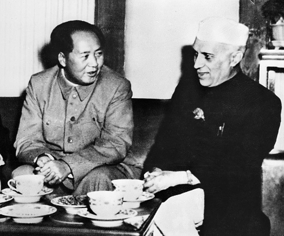 Jawaharlal Nehru with China's Premier Mao Tse-Tung in a picture dated 27 October 1954 during the Indian Prime Minister's visit to China. The Panchsheel agreement had been signed on April 29 of the same year.