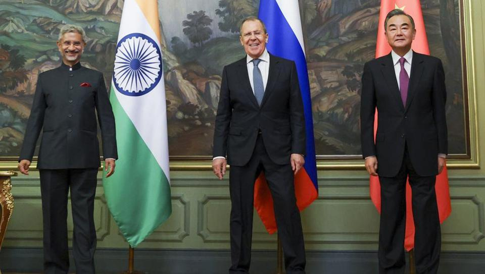 External Affairs Minister Dr. S Jaishankar with his Russian and Chinese counterpart Sergei Lavrov (Centre) and Wang Yi (Right) during the meeting of the Foreign Ministers of the Shanghai Cooperation Organization, in Moscow on Thursday.