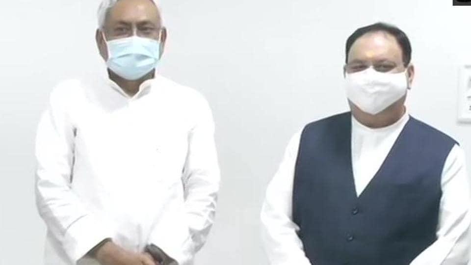 Bihar chief minister Nitish Kumar with BJP national president JP Nadda.