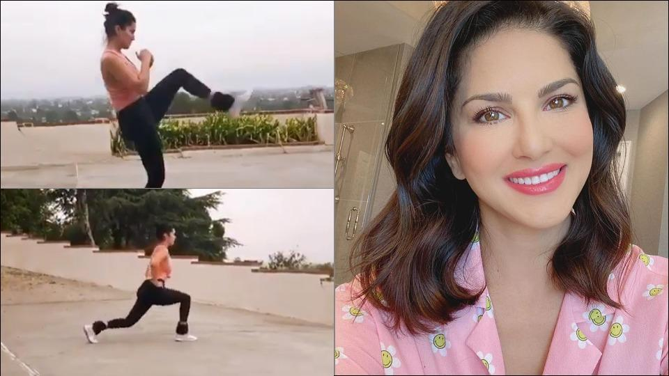 Sunny Leone kicks and lunges in an outdoor space