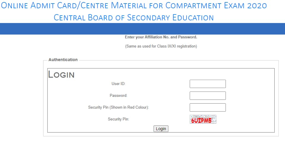 CBSEcompartment exam admit card 2020  released