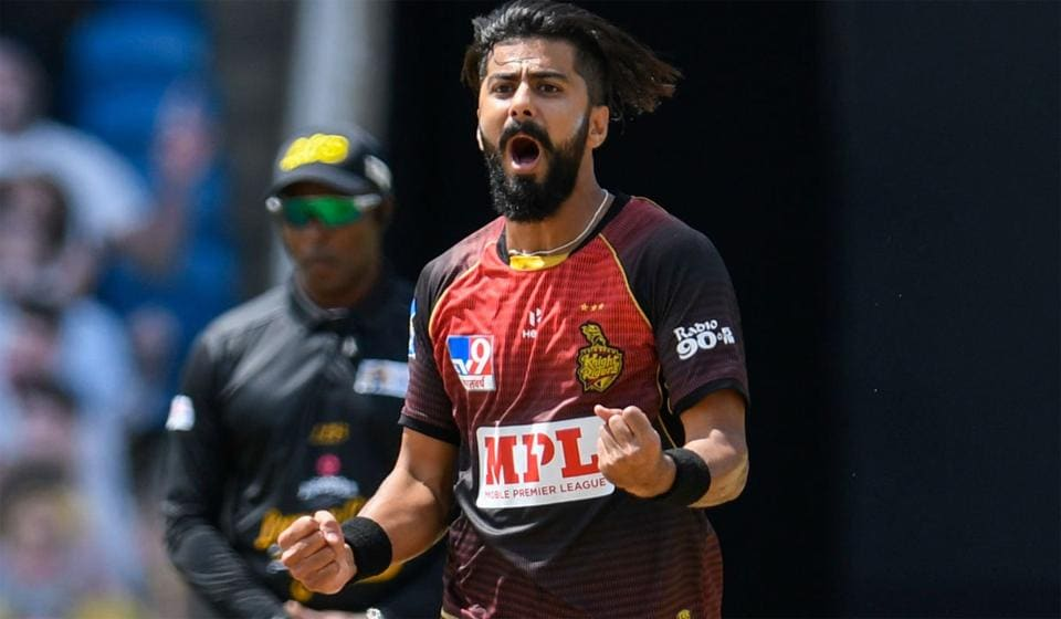 Ali Khan celebrates a wicket in the CPL.