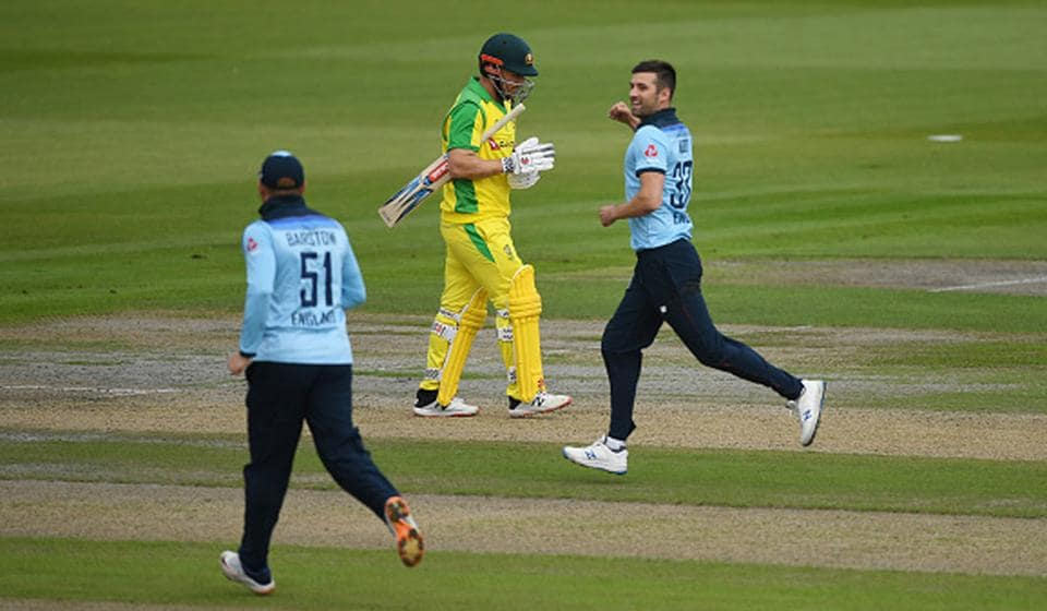 Fast bowler Mark Wood finished with 3/54 including the wickets of Australia captain Aaron Finch and all-rounders Marcus Stoinis and Marsh (Getty)