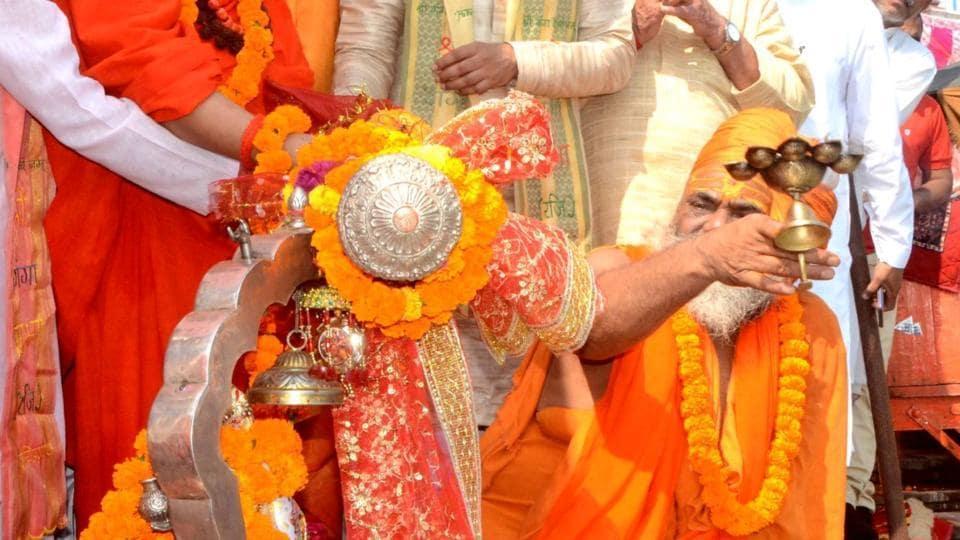 Centuries old Chhari Yatra (holy mace ) being worshipped on its way to Bageshwar in Haridwar.