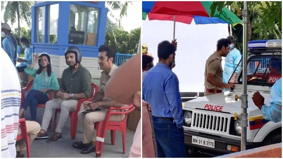 Ranbir Kapoor seen in Mumbai on shoot sets.