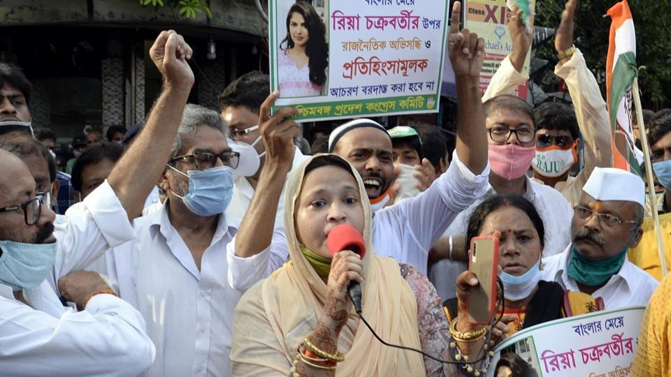 Congress activists take part in a demonstration to protest against the arrest of actress Rhea Chakraborty in Kolkata on Saturday.