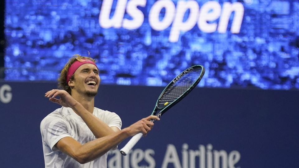 Alexander Zverev, of Germany, reacts after defeating Pablo Carreno Busta, of Spain, during a men's semifinal match of the US Open tennis championships.