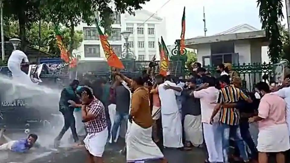 For the third consecutive day, the state witnessed protests seeking the resignation of Kerala higher education minister KT Jaleel. Many opposition party workers were injured in baton-charging.