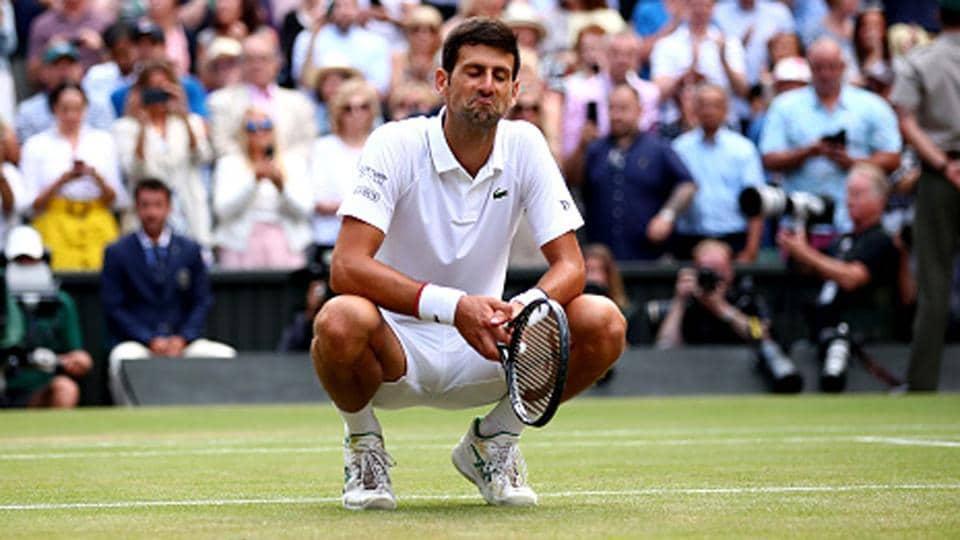 Novak Djokovic reacts during a match