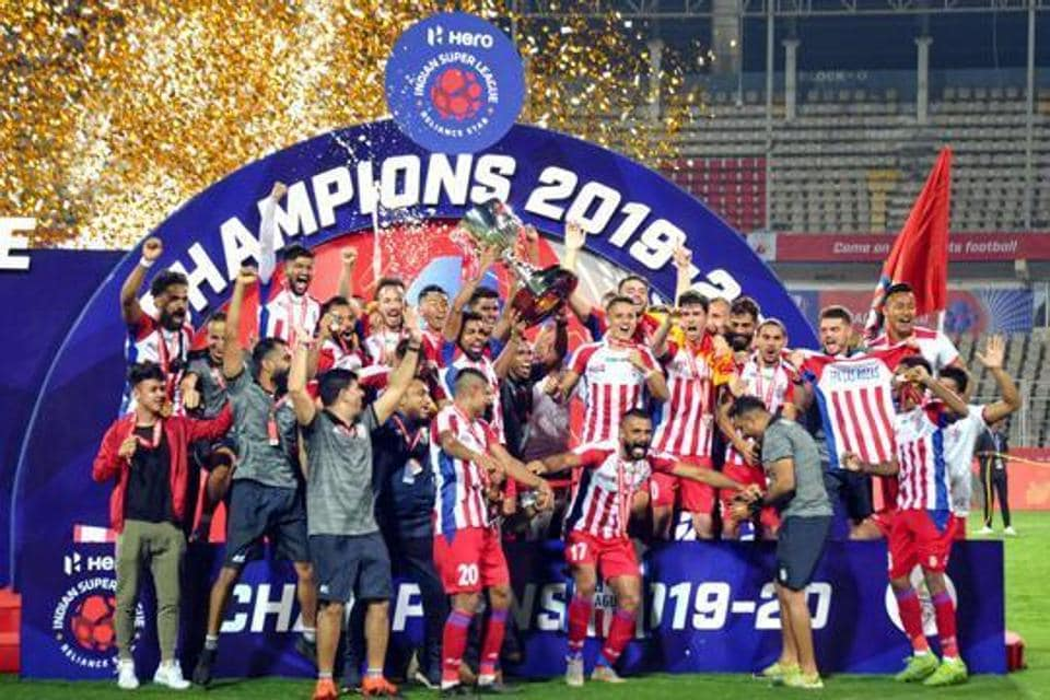Players of ATK Kolkota celebrate after winning the 6th edition of the Indian Super League (ISL) football final match in Fatorda, Goa, Saturday, March 14, 2020. ATK Kolkotadefeated ChennayinFC by 3-1.