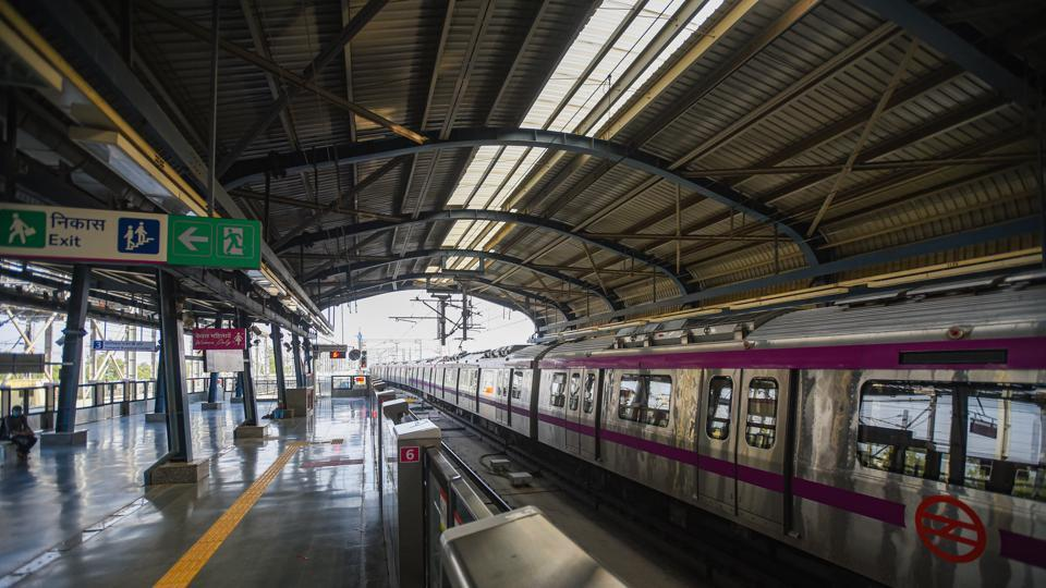 A Magenta Line metro train at a station platform after services on the line were resumed in New Delhi.