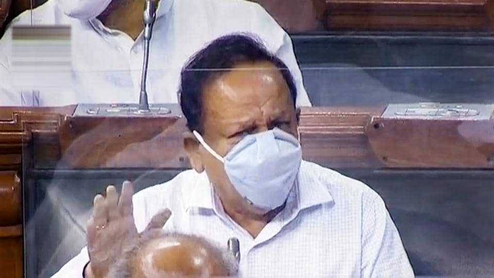 Union health minister Harsh Vardhan speaks in Lok Sabha during the opening day of monsoon session of Parliament.