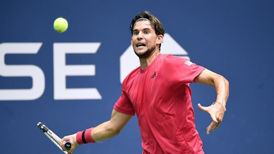 Sep 13, 2020; Flushing Meadows, New York, USA; Dominic Thiem of Austria hits the ball against Alexander Zverev of Germany in the men's singles final match on day 14 of the 2020 U.S. Open tennis tournament at USTA Billie Jean King National Tennis Center. Mandatory Credit: Danielle Parhizkaran-USA TODAY Sports