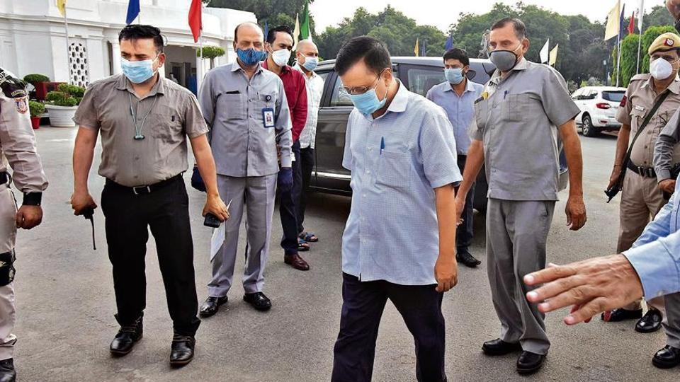 Delhi chief minister Arvind Kejriwal arrives for the special assembly session on Monday.