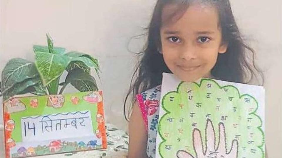 A student of Hansraj Public School, Panchkula taking part in the celebrations.