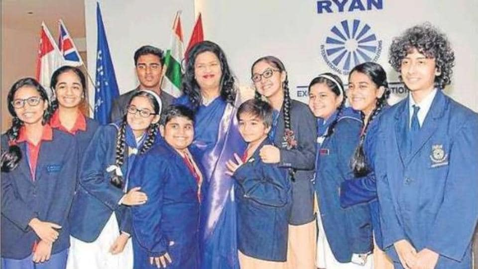 Dr Grace Pinto, managing director, Ryan International Group of Institutions, with students.