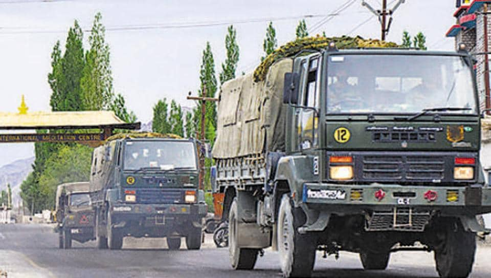 An army convoy moves towards LAC amid the India-China border dispute in the eastern Ladakh sector.