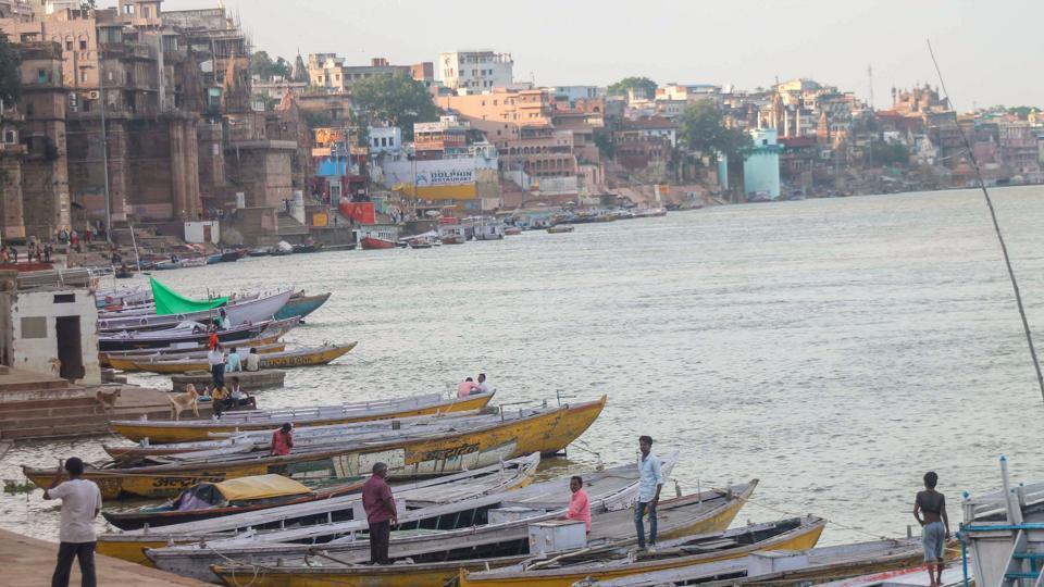Boats anchored at a Ganga ghat in Varanasi, Uttar Pradesh.