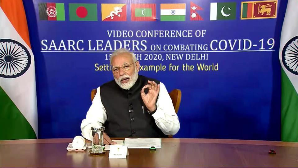 Prime Minister Narendra Modi interacts with members of SAARC countries via video conferencing, New Delhi ,  April 16, 2020
