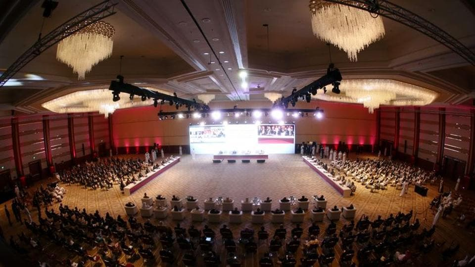 A general view shows talks between the Afghan government and Taliban insurgents in Doha, Qatar on September 12, 2020.