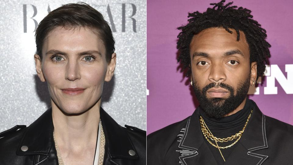 This combination photo shows designer Gabriela Hearst at the Lincoln Center Corporate Fund fashion gala honoring Coach in New York on Nov. 29, 2018, left, and Pyer Moss designer Kerby Jean-Raymond at the 2019 Footwear News Achievement Awards in New York on Dec. 3, 2019. The Council of Fashion Designers of America (CFDA) announced Hearst as American Womenswear Designer of the Year and Jean-Raymond as American Menswear Designer of the Year for the 2020 CFDA Fashion Awards.