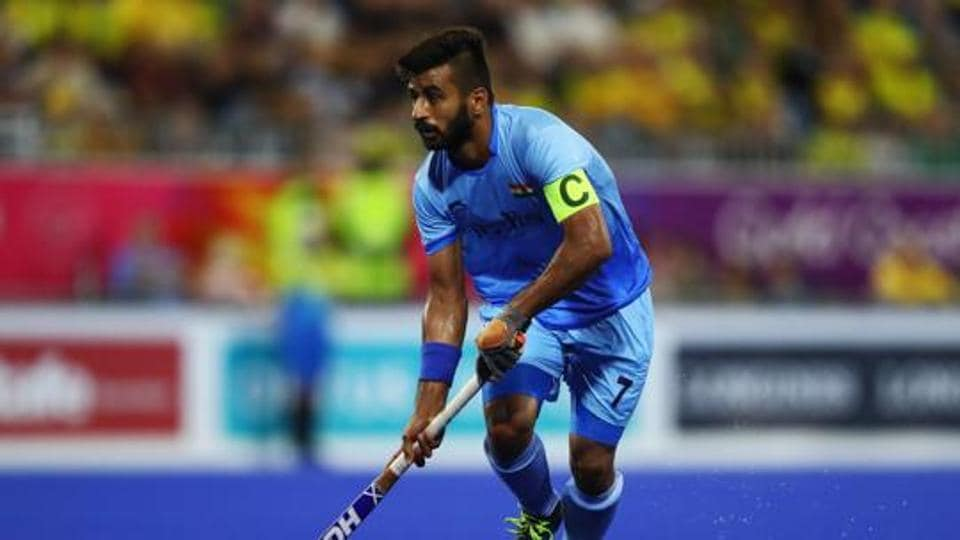 Manpreet Singh in action during Men's Semifinal match between India and New Zealand on day nine of the Gold Coast 2018 Commonwealth Games.