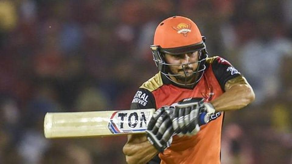 SRH batsman Manish Pandey plays a shot during the Indian Premier League 2019 (IPL T20) cricket match between Kings XI Punjab (KXIP)and Sunrisers Hyderabad (SRH) at I S Bindra Stadium in Mohali, Monday, April 8, 2019. .