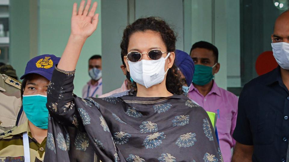 Kangana Ranaut on her arrival at Mohali International Airport, in Punjab, Monday.