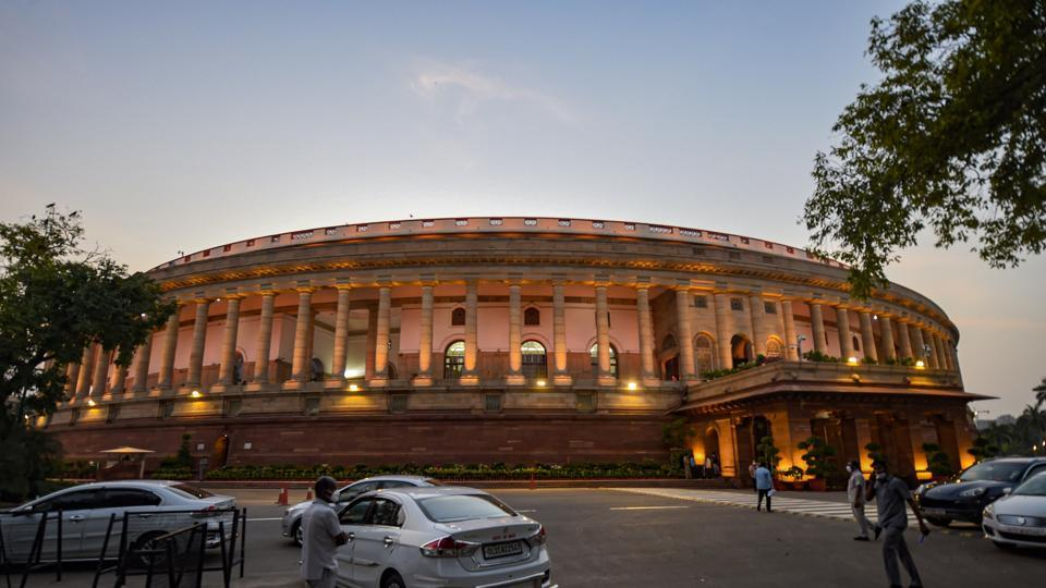 A view of Parliament House on the opening day of Monsoon Session.