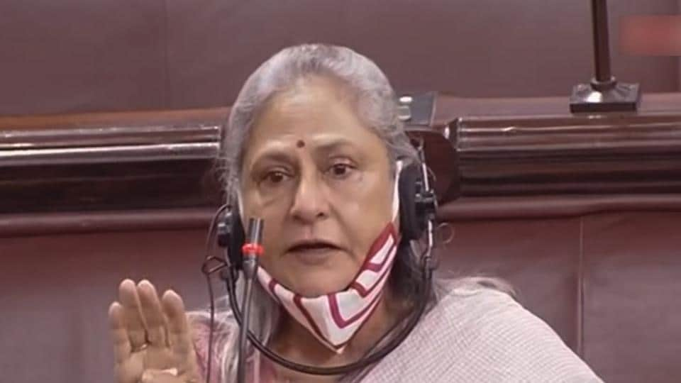 Samajwadi Party MP Jaya Bachchan speaks in the Rajya Sabha on Tuesday.