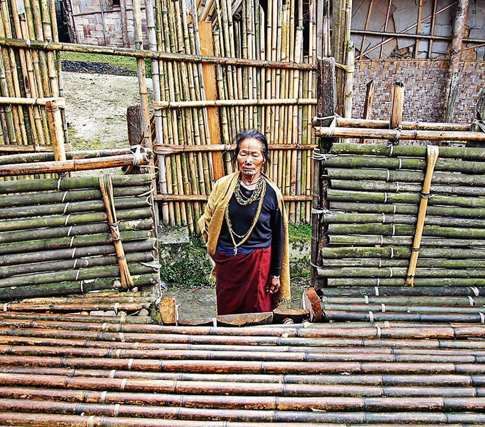 An Apatani woman at Hari village in Ziro, Arunachal Pradesh.