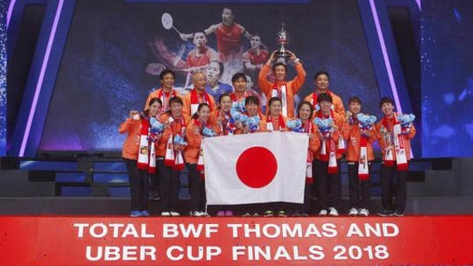 Japanese team celebrate after winning Uber Cup finals badminton match at the Thomas and Uber Cup 2018 in Bangkok, Thailand, Saturday, May 26, 2018.