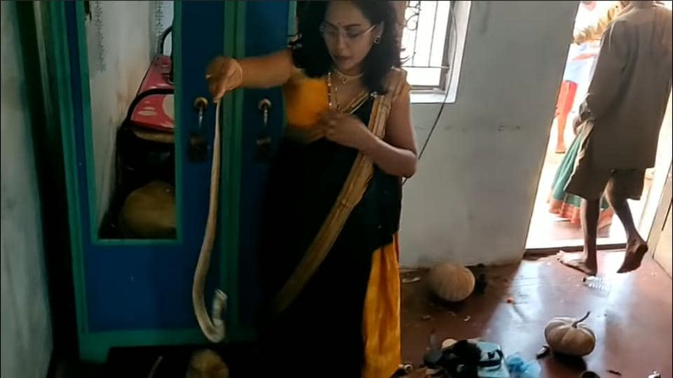 Nirzara Chitti was on her way to a wedding when she received a call about a snake in a house and rushed to help.