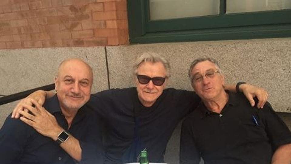 Anupam Kher poses with Robert De Niro and Harvey Keitel.