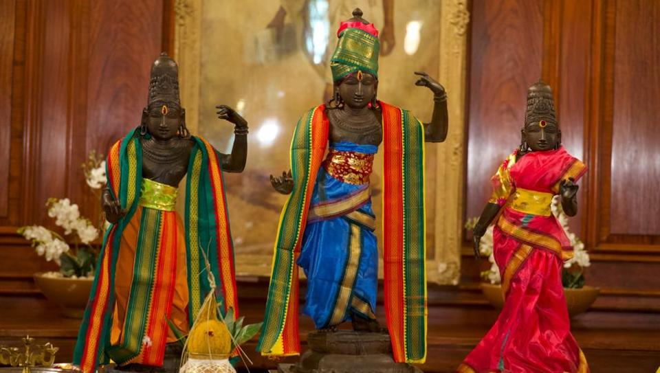 The idols of Lord Rama, Sita and Lakshmana that were stolen.