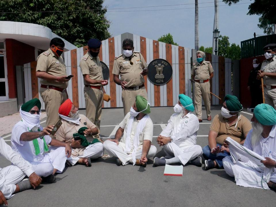 Farmer leaders during a sit-in protest outside the Punjab Raj Bhawan in Chandigarh on Wednesday.