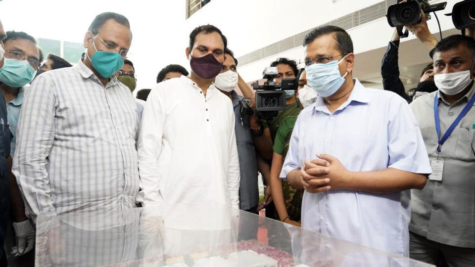 Delhi chief minister Arvind Kejriwal inaugurates Ambedkar Nagar Hospital, in New Delhi on August 9.
