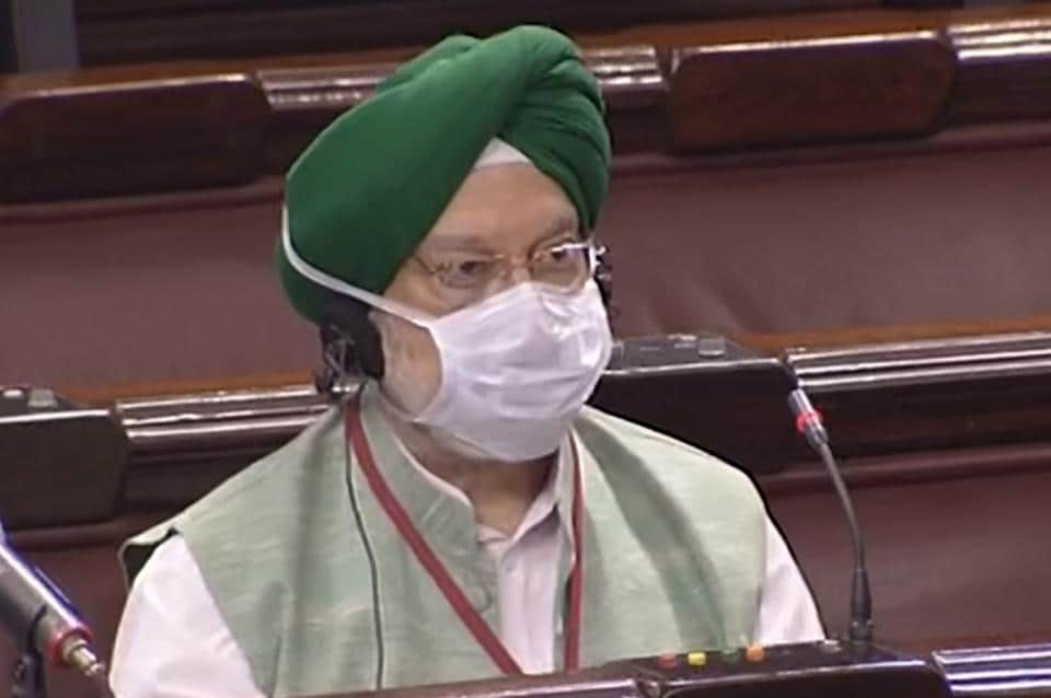 Union civil aviation minister Hardeep singh Puri in Parliament.