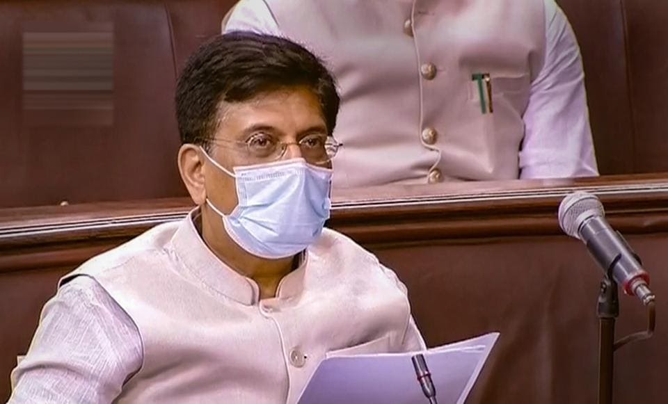 Union Minister Piyush Goyal speaks in the Lok Sabha during the ongoing Monsoon Session of Parliament.
