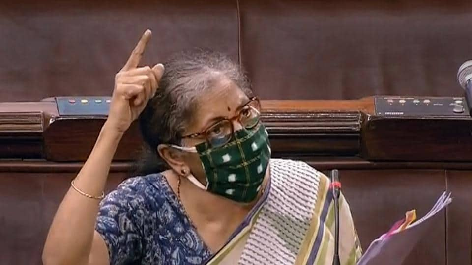 Union finance ninister Nirmala Sitharaman speaks in Lok Sabha during the ongoing monsoon session of Parliament amid the coronavirus pandemic in New Delhi on Wednesday.