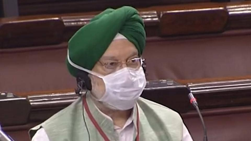 Union minister for housing and urban affairs Hardeep Singh Puri in the Rajya Sabha during the ongoing monsoon session of Parliament.