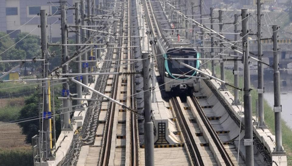 Noida Metro Rail Corporation's (NMRC) Aqua Line connecting Noida to Greater Noida  (Photo by Sunil Ghosh / Hindustan Times)