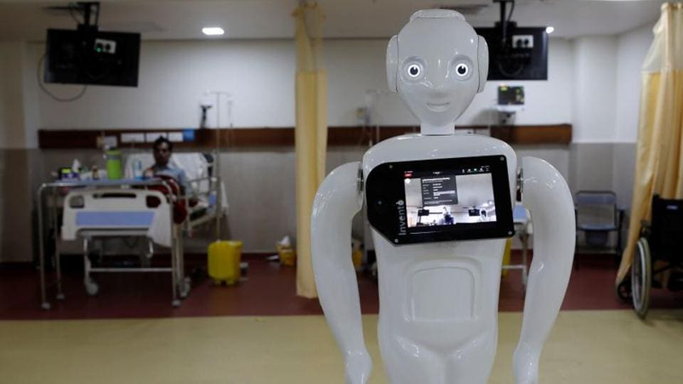 A robot named 'Mitra', which is used by the patients suffering from the coronavirus disease (COVID-19) to communicate with their relatives, is seen inside an Intensive Care Unit (ICU) of the Yatharth Super Speciality Hospital in Noida, on the outskirts of New Delhi, India, September 15, 2020.
