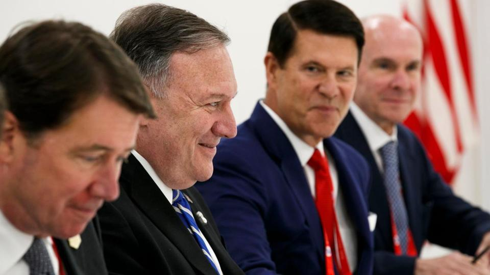 China has lashed out at US Under Secretary for Economic Growth, Energy and Environment Keith Krach's visit to Taiwan. He is seeing sitting here with (L-R) US ambassador to Japan William Hagerty, US secretary of state Mike Pompeo, and senior adviser Michael McKinley