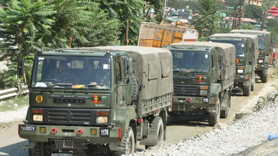 An Indian Army convoy moves on Manali-Leh road towards amid India-China stand off, near Manali.